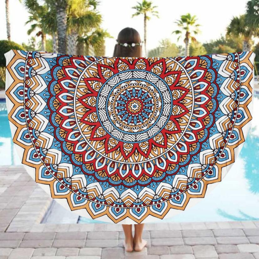 Round Beach Pool Home Shower Towel Blanket Table Polyester Cloth Yoga Mat Polyester Dec 15