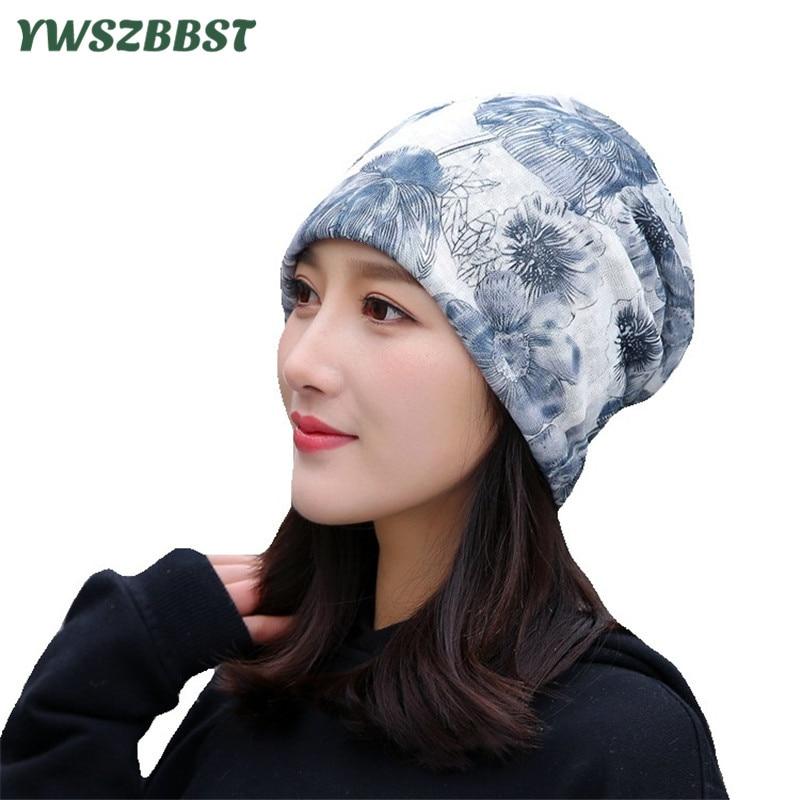 2019 Summer Hip Hop Hat Flower Print Women Hat Thin Beanie Turban Cap Autumn Winter Skullies Beanies Women Silk Hat