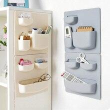 Household paste wall rack bathroom storage free punch hanging kitchen finishing