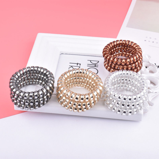 5PCS Hair Accessories Hair Ring Fashion Transparent Telephone Wire Elastic Hair Bands Solid 4 Colors Plastic Spring Gum Hairband