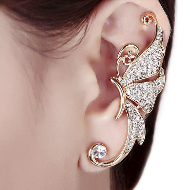 1PC 2016 Fashion Outstanding Bijouterie Cute Butterfly Rhinestone Ear Cuff Clip Cartilage Earring Fashion Accessories 2 colors золотые серьги по уху