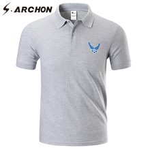 S.ARCHON Men's Military Air Force Cotton Polo Shirt Short Sleeve Breathable Tactical Army Print Polo Casual Quick Dry Polo Shirt