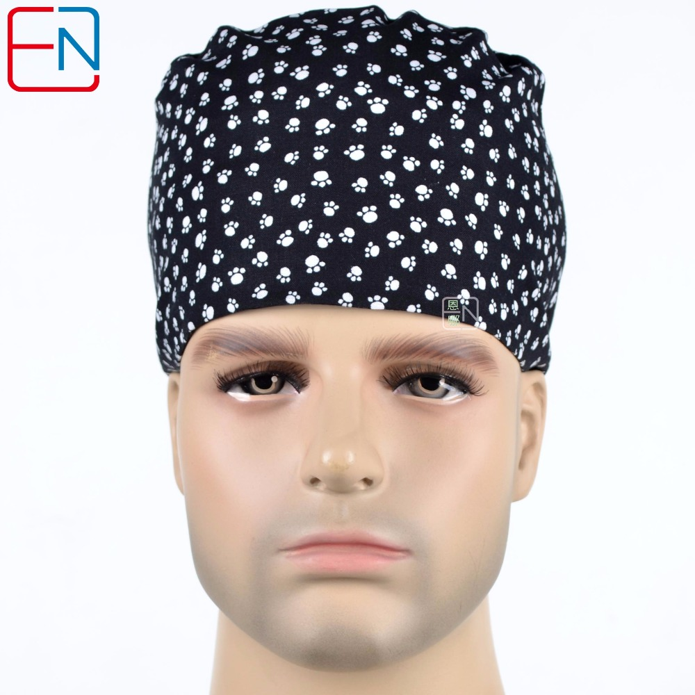 Hennar Brand Medical Caps Surgical Scrub Caps In Black With Feet Prints