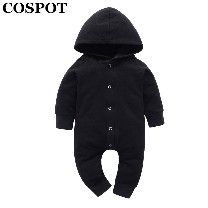 COSPOT 2018 New Newborn Clothes Baby Boy Clothes Black Spring Long Sleeve Cotton Hooded Jumpsuit Romper Outfit Body Suits 30C newborn infant warm baby boy girl clothes cotton long sleeve hooded romper jumpsuit one pieces outfit tracksuit 0 24m