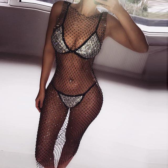 Sparkly see-through white mesh clubwear