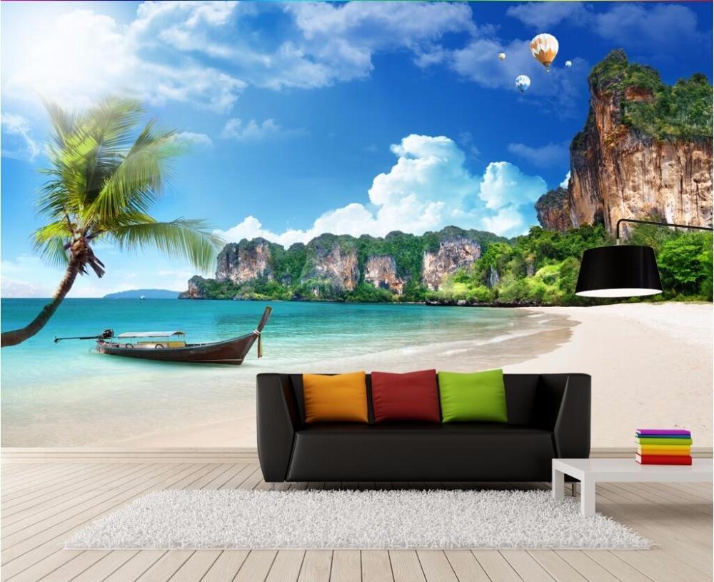 Custom 3 D Photo Wallpaper Wall Murals 3d Wallpaper Beach: Custom Mural Photo 3d Room Wallpaper Hot Air Balloon In A