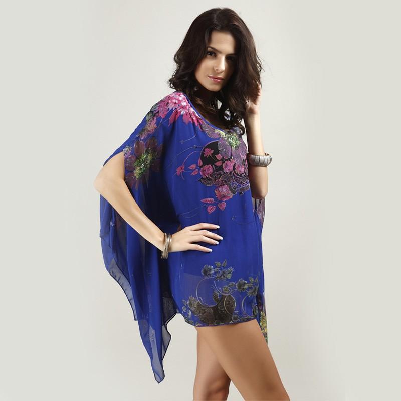HTB1XOWhLXXXXXXeXXXXq6xXFXXXz - Boho Batwing Sleeve Chiffon Blouse Women Casual Floral Kimono Shirts