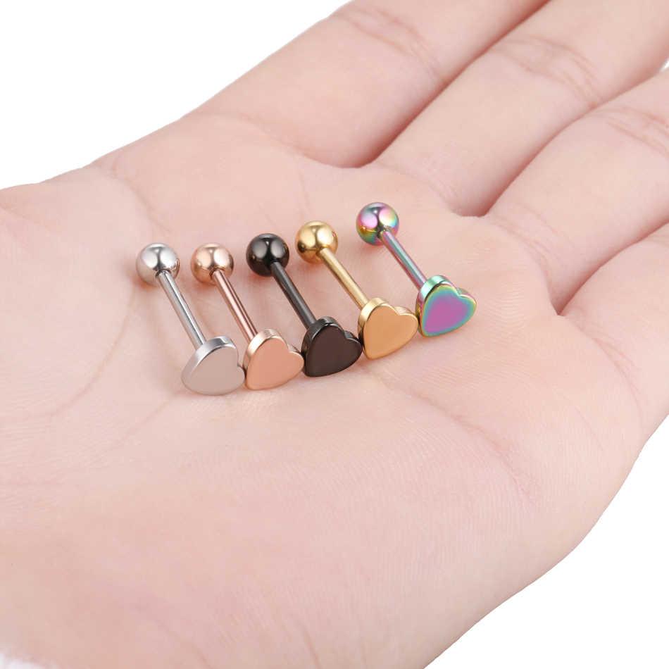 1 PC Thép Khuyên Trên Barbell Công Nghiệp Barbell Núm Vú Trái Tim Piercings Flesh Tunnels Ear Ổ Cắm Tăng Thể Ear Đồ Trang Sức Cơ Thể