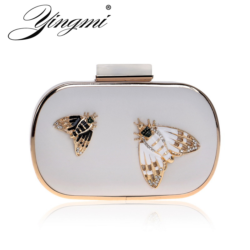 YINGMI Butterfly Metal Women Evening Bag Small Party Wedding Day Clutch Shoulder Female Handbags luxury crystal clutch handbag women evening bag wedding party purses banquet
