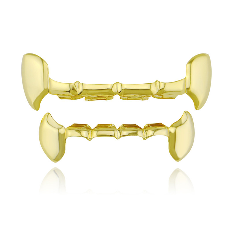 Hip Hop Gold Silver Color Teeth Grillz Top Bottom Vampire Fang Half Tooth Grills Denatl Hallowee Cosplay Teeth Cap Mouth Jewelry