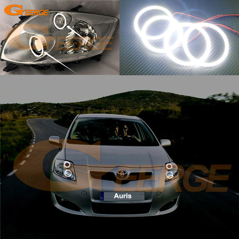 For Toyota Auris 2007 2008 2009 Europe Excellent led Angel Eyes Ultra bright smd led Angel Eyes Halo Ring kit car led headlight h4 hl beam bulb auto lamp 12v for toyota corolla rav4 avensis auris camry 2007 2008 2009 carro voiture 2017