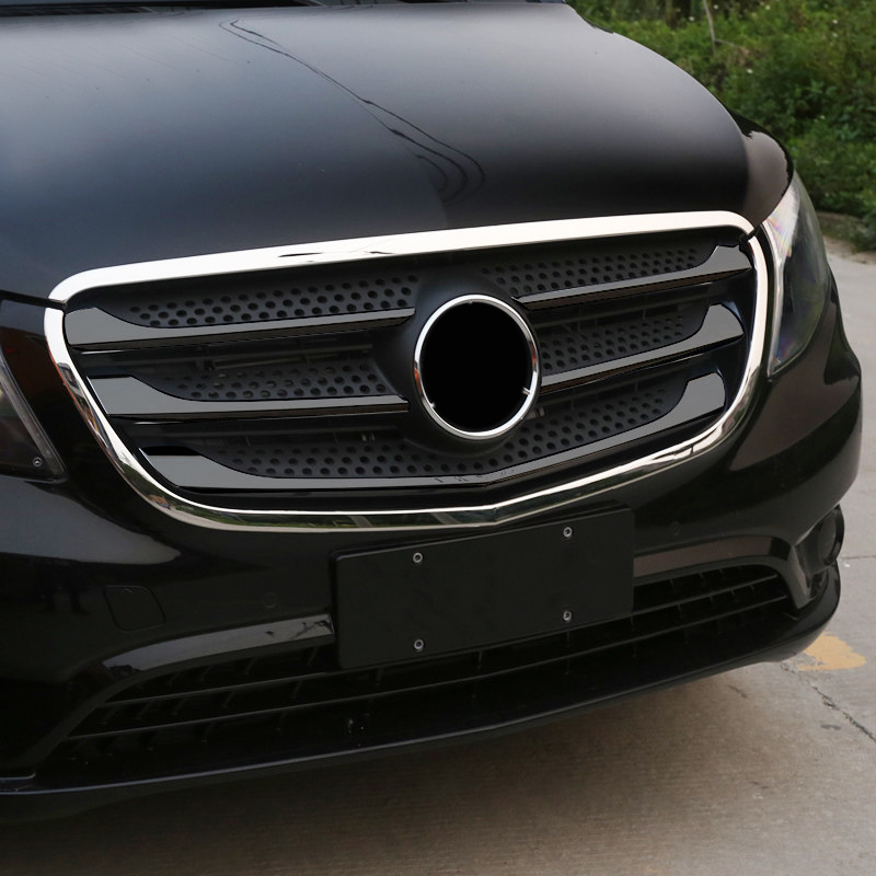 Car Styling 2PCS ABS Chrome Front Center Grille Grid Outer Frame Cover Trim For Mercedes Benz