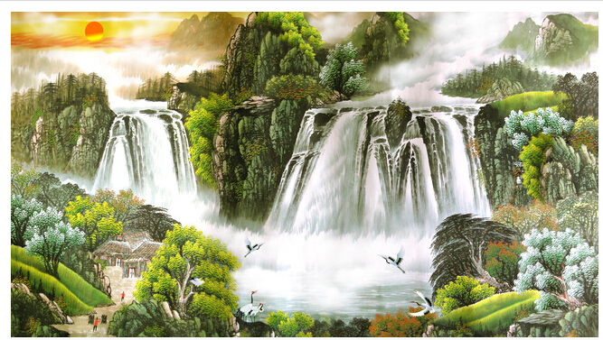 Large European Fresco Living Room TV Sofa Wallpaper Background Landscape Feng Shui Rising Sun Has A Long History In Wallpapers From Home
