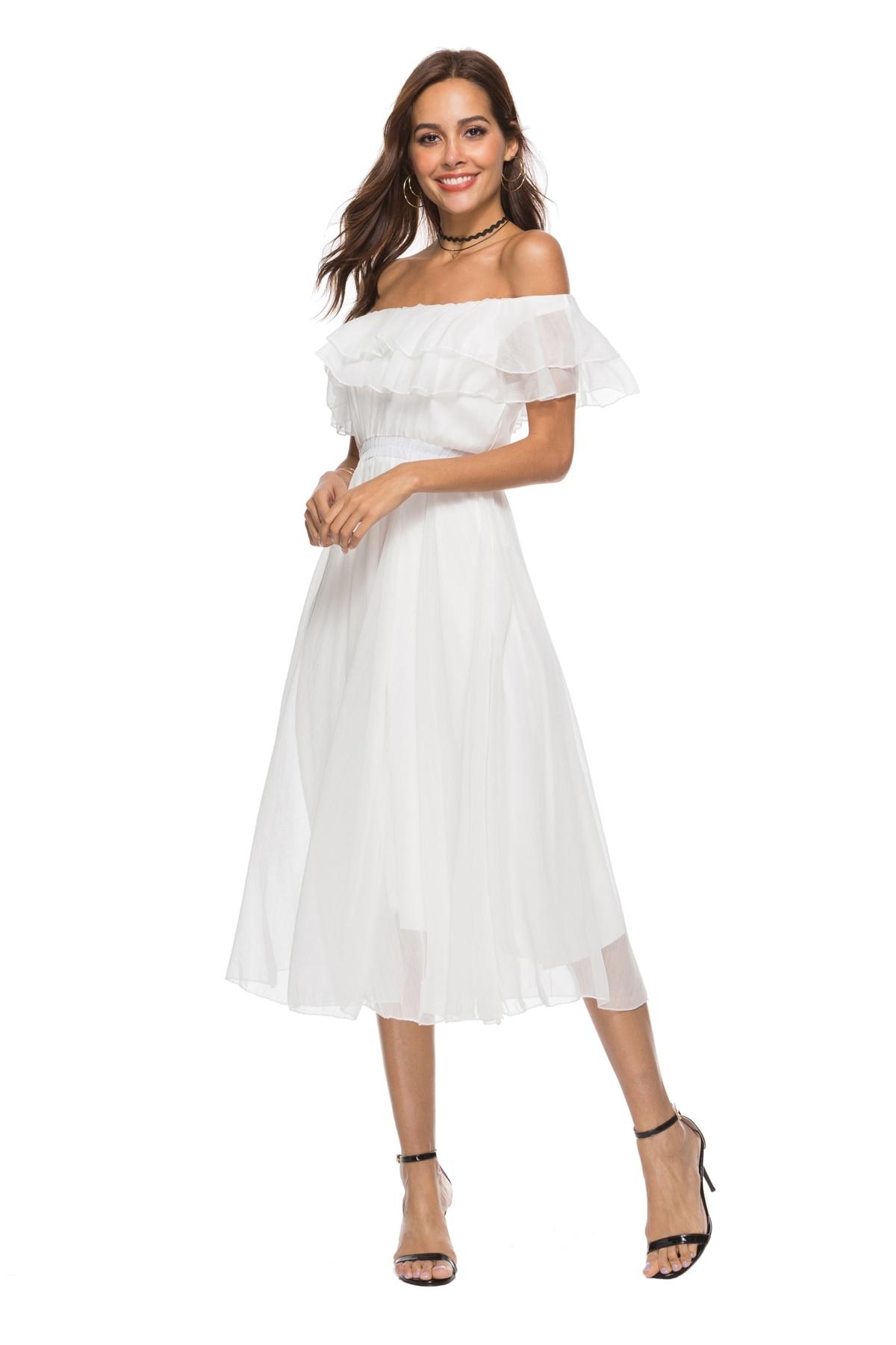 Slash Moulante Soie Zqlz Dos Robe Style Sexy Blanc Boho Mousseline Courtes Manches Longue À Femlae Cou Plage D'été Nu De Femmes Robes Pqf4Yw