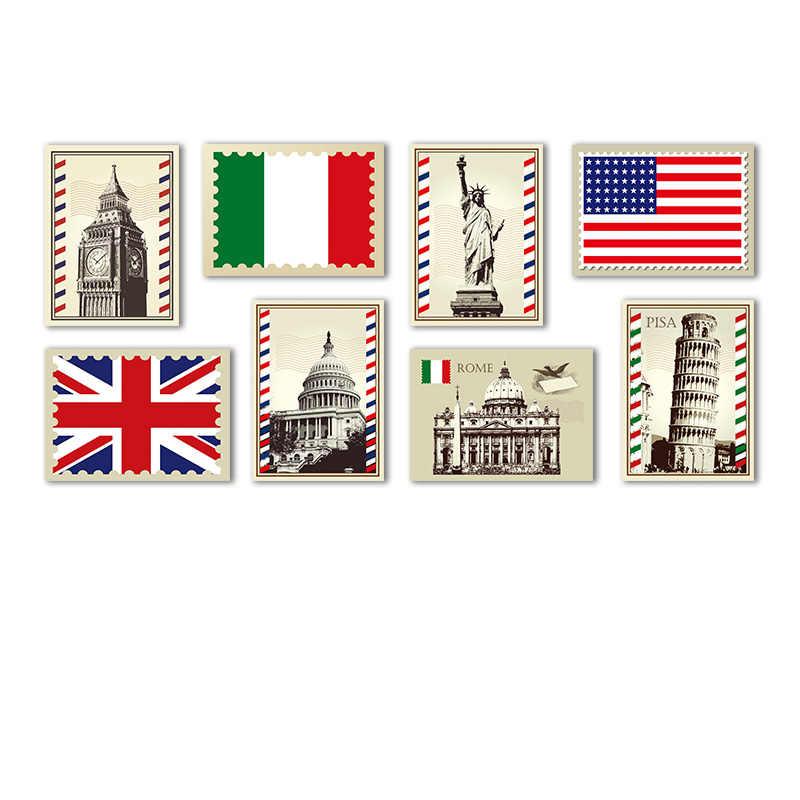 Europejski budynku na płótnie malowanie Retro plakat na płótnie flagi ścianie obraz nostalgiczne pieczęć krajobraz drukuj dekoracji wnętrz Cafe