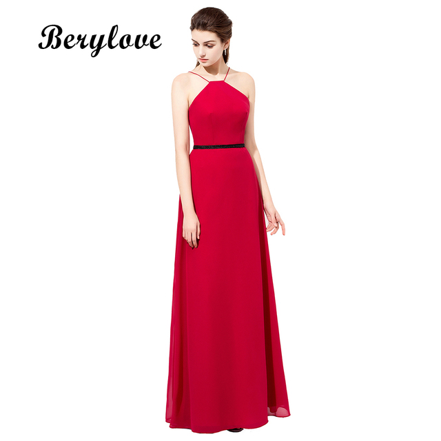 BeryLove Long Red Prom Dresses Simple Chiffon Long Evening Dresses ...
