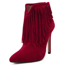 2016 Womens Fashion Tassel Thin High Heel Ankle Boots Designer Shoes Woman Winter Zapatos Mujer
