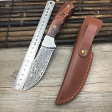 Handmade real Damascus steel hunting knife 58 HRC Damascus Steel camping fixed knife  ebony handle with Leather sheath