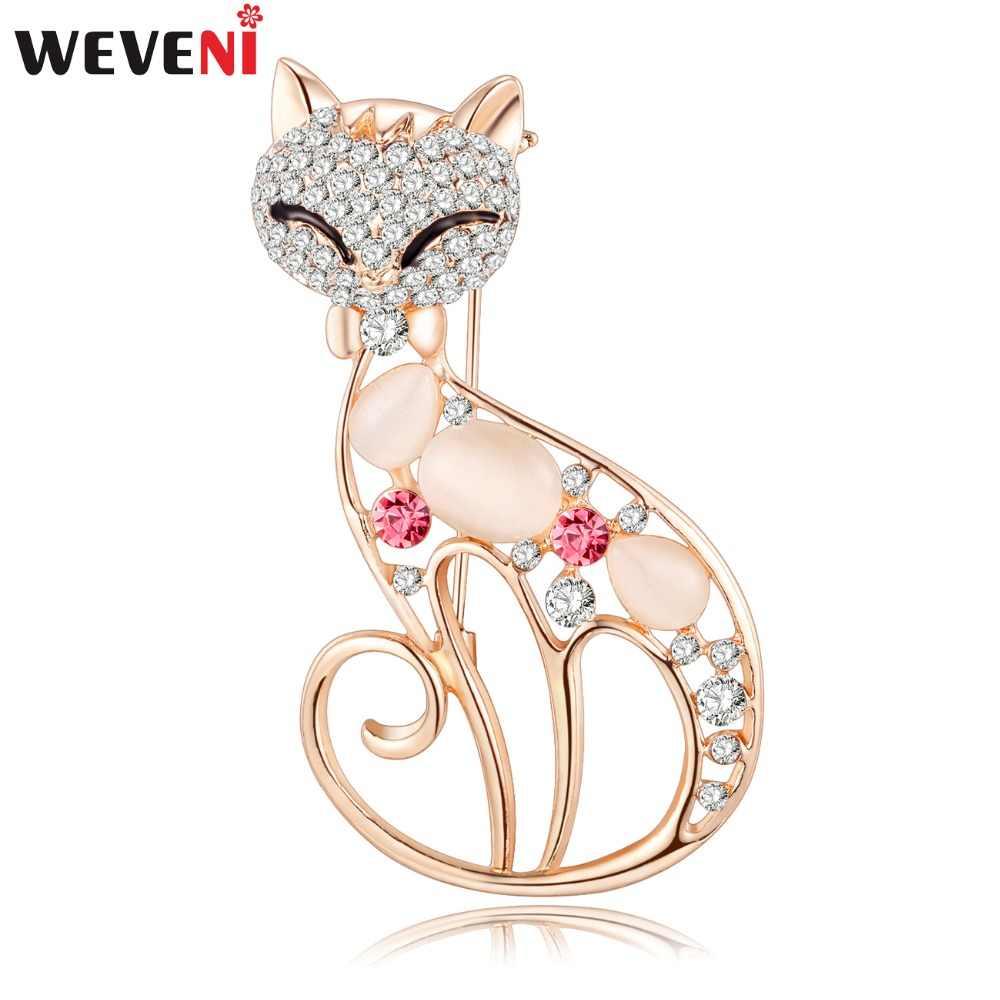WEVENI Strass Opal Cat Gattino Spilla Per Le Donne Di Natale Spille Pin Collare Sciarpa Decorazione di Nuovo Modo Aniaml Gioielli