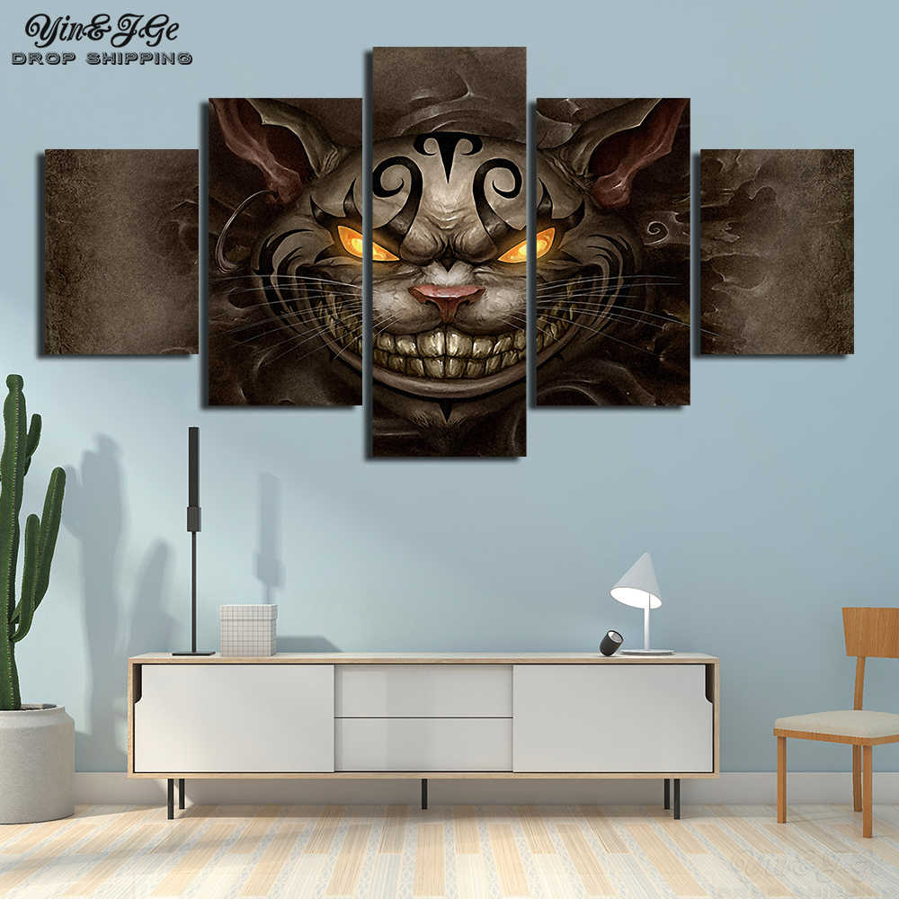 Canvas Painting HD Prints Home Decor 5 Pieces Alice Madness Returns Cheshire Cat Kid Room Wall Art Modular Pictures Movie Poster