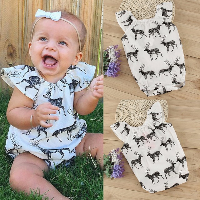 22d60d2a6 2017 Cute Newborn Baby Girls Bodysuits Clothes Deer Short Sleeve ...