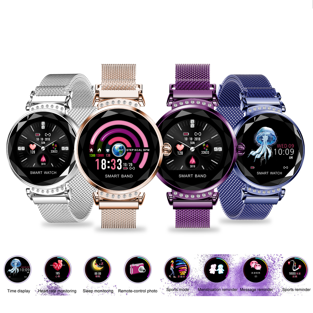 H1 Smartwatch Inteligente Heart Rate Monitor de Relógio Da Forma Das Mulheres Senhora Pulseira De Fitness Pedômetro Bonito Confortável Desgaste Q8 V8