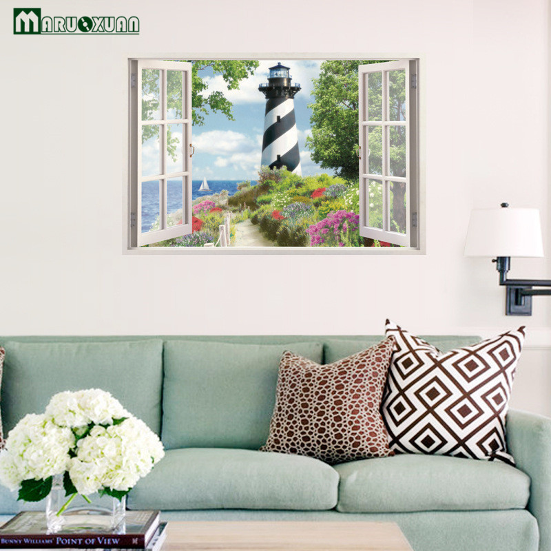 Maruoxuan 3d Beach Lighthouse Window Stickers Living Room Bathroom Background Decoration Waterproof Wall Stickers 68