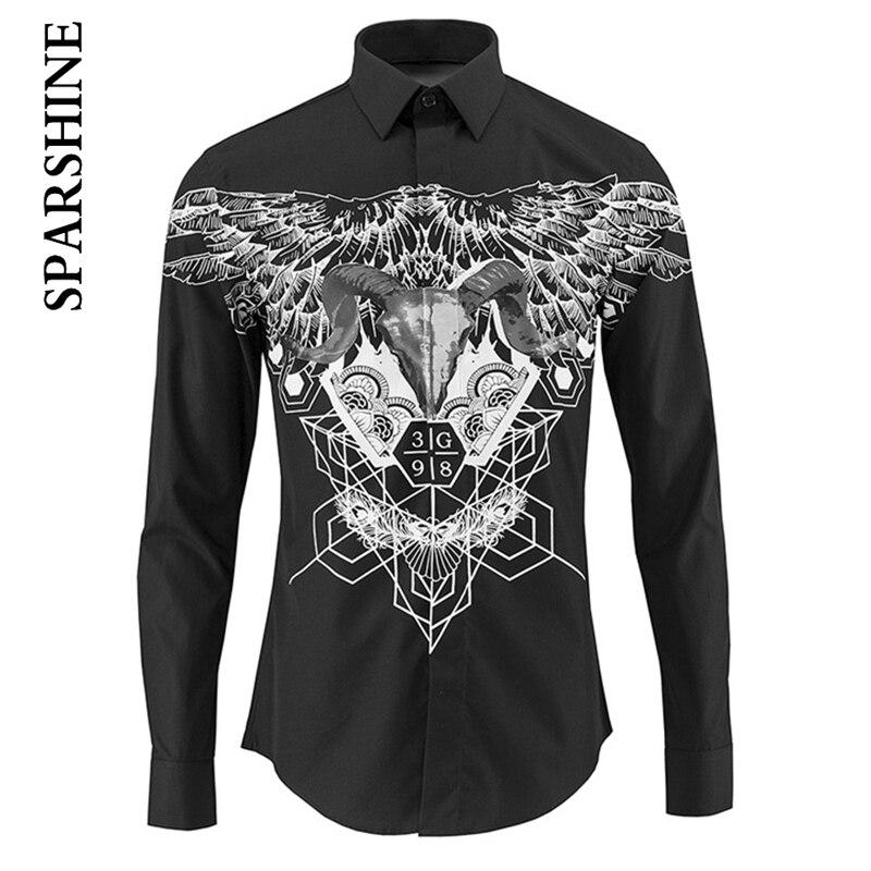 New Fashion Printed Black White Shirt Men Chemise Homme 2016 Luxury Brand Slim Fit Mens Dress Shirts Casual Cotton Shirts