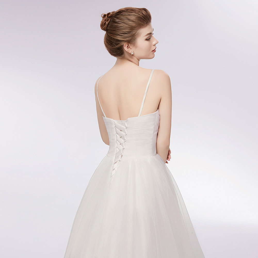 Simple Summer High Low Tulle Wedding Dresses 2019 Spaghetti Strap Gowns 2 Colors Available Bridal Dress Vestido De Noivain From: Simple Strap Wedding Dresses At Reisefeber.org
