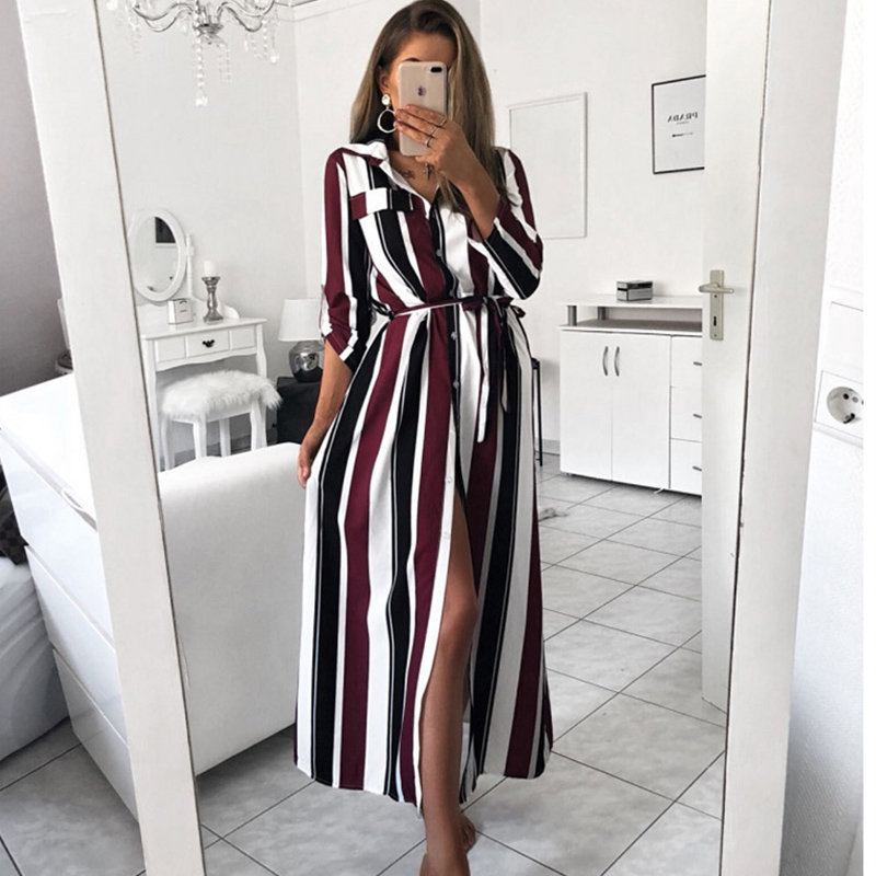 2019 Office Lady Turn-Down Collar Button Lace Up Long Shirt Dress Women New Fashion Summer Long Sleeve Stripe Maxi Party Dresses