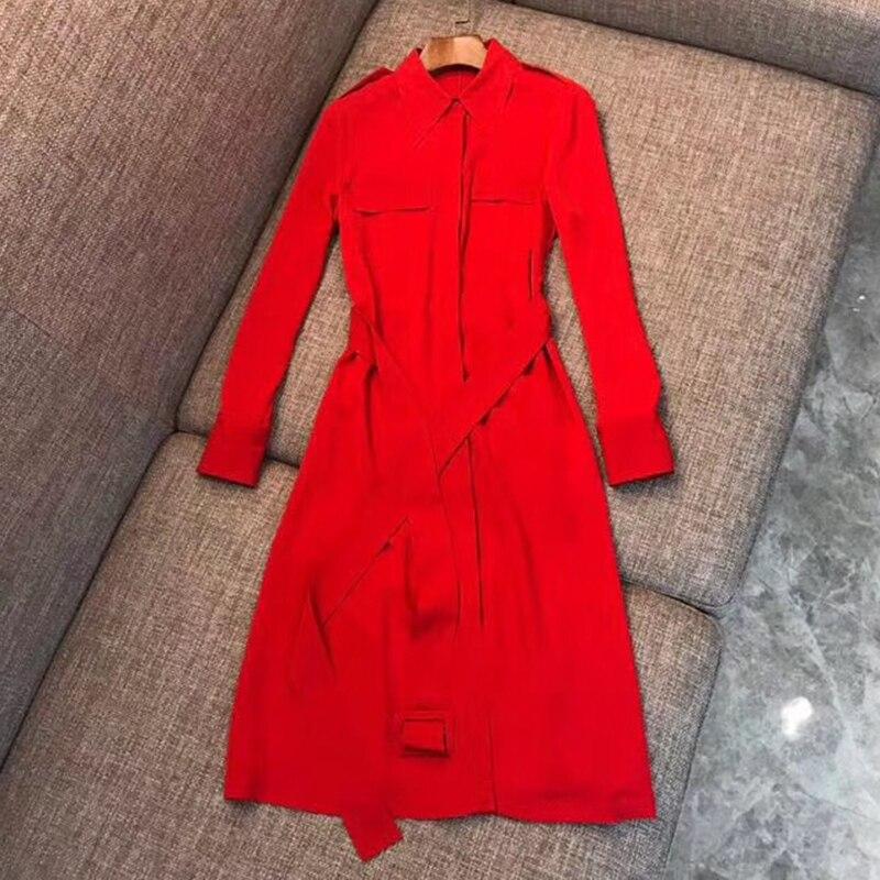 länge 2019 Black A Kleider Kleid Frauen Schärpen Solide Lange Frühling red Farben Ankle Luxus Weibliche Damen Mit line Elegante Yyvbf7gI6