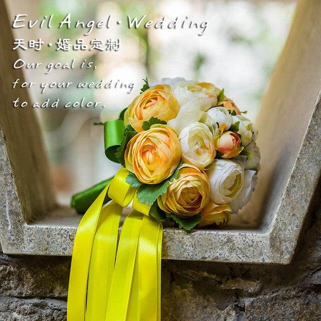 2017 dama de honor nupcial de la boda bouquet barato nueva orange & marfil hecho a mano peonía artificial flores de la boda ramos de novia