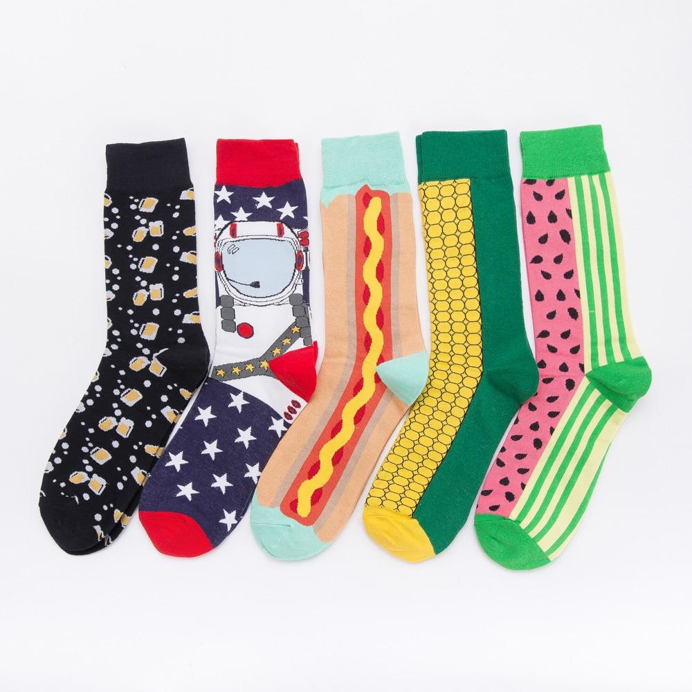 Jhouson 1 Pair Colorful Men's Cotton Crew Funny Socks Watermelon Corn Spaceman Pattern Novelty Skateboard Socks For Gifts