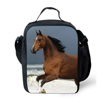 New Large Insulated Lunch Picnic Bag for Women Animal Zoo Horse Print  Lunchbags Kids Cute Thermal Lunch Box bolsa termica