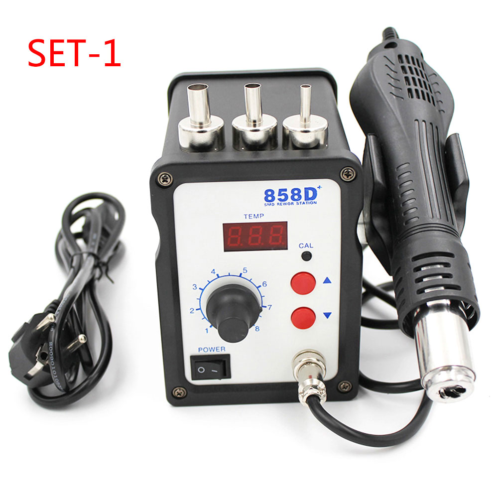 Image 2 - 858D+ 220V Hot Air Gun 700W ESD Soldering Station LED Digital Heat Gun Desoldering Solder Station Upgrade From 858D Air Nozzles-in Heat Guns from Tools on