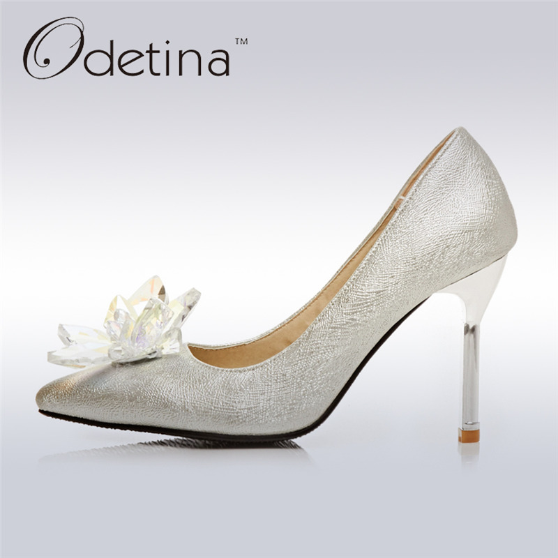 Odetina 2017 New Women Silver Glitter Pumps Crystal Floral Sexy Stiletto High Heels Party Wedding Shoes Thin Heel Big Size 32-43 odetina 2017 new fashion women glitter high heels pointed toe d orsay ladies stiletto sexy pumps party wedding shoes big size 43