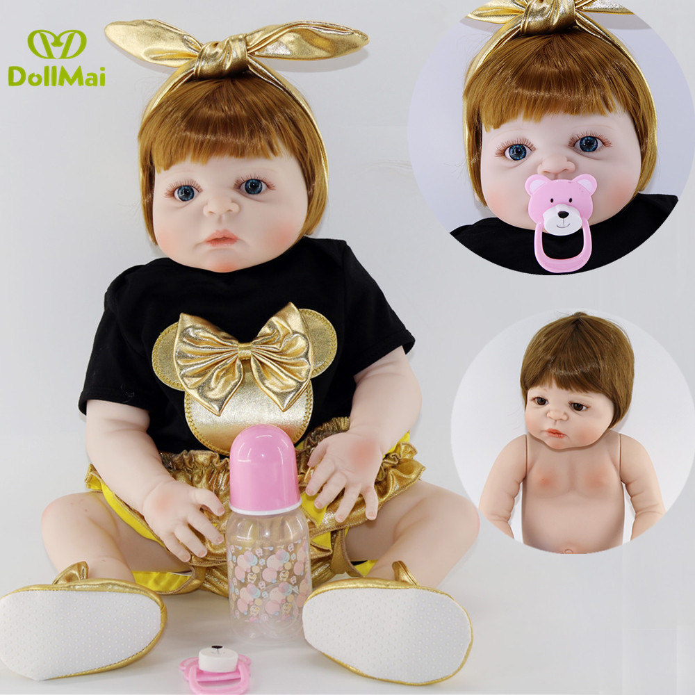 Bebes reborn com corpo de silicone menina 23 Real full silicone reborn girl baby dolls toys for children gift can batheBebes reborn com corpo de silicone menina 23 Real full silicone reborn girl baby dolls toys for children gift can bathe