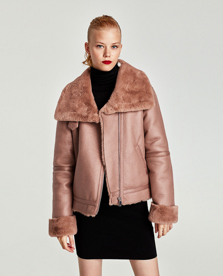 Newest Arrival Women Fall Winter High Street Zipper Turn Down Collar Pink Motorcycle Faux   Leather   Jacket CKP-005