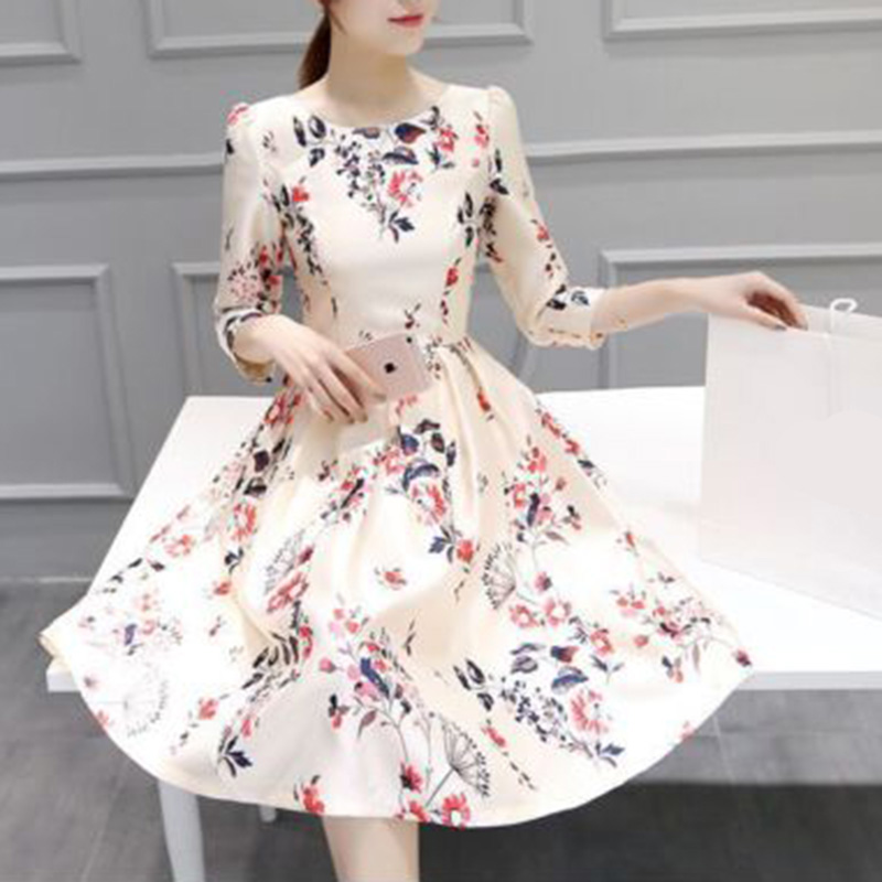 29b56cb9d3aa Women Floral Print Summer Dress Fashion Girls Summer Dress A Line ...
