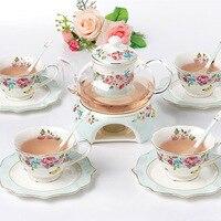 Noble Luxury Bone China Drinkware filiżanka i spodek ceramiczny zestaw do herbaty podgrzewany szklany imbryk porcelanowy dzbanek do kawy w Zestawy filiżanek i spodków do kawy od Dom i ogród na