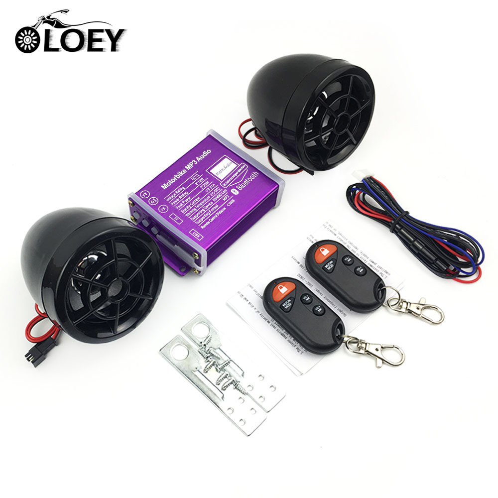 Motorcycle Bluetooth Waterproof Anti-Theft Audio Speakers FM Radio MP3 Music Player Scooter Chopper Cruiser Moto Security Alarm