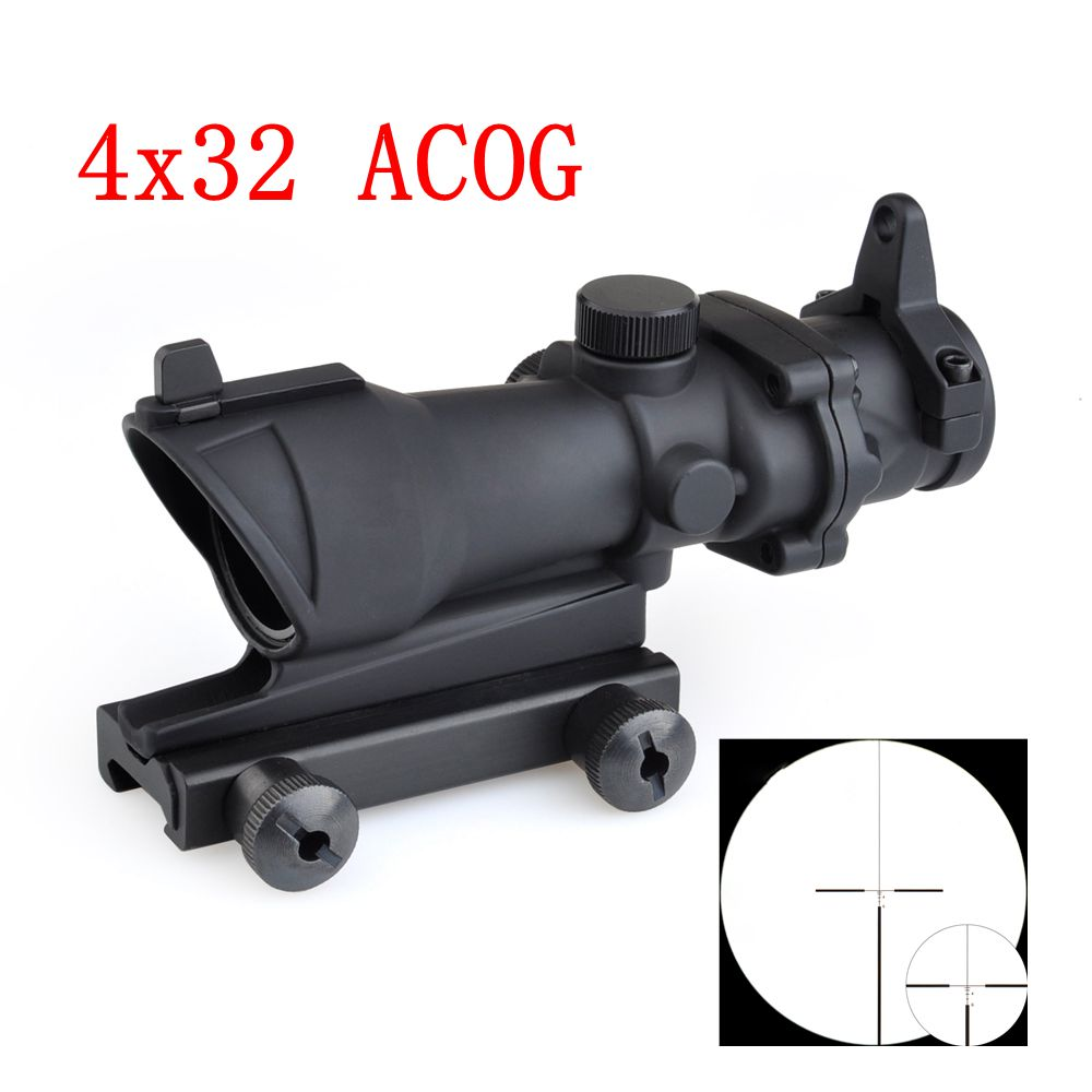 4x32 Red / Green Reticle ACOG Tactical Gun Rifle Scope Hunting Aim Red Dot Iron Optical Sight Riflescope With Mount wholesale 650nm laser light therapy female vaginal tighten with laser light therapy