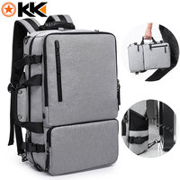 KAKA Functional 17.3 inches Laptop Travel Men's Backpack Large Capacity Men Luggage Shoulder Bags Gray Leisure Backpacking