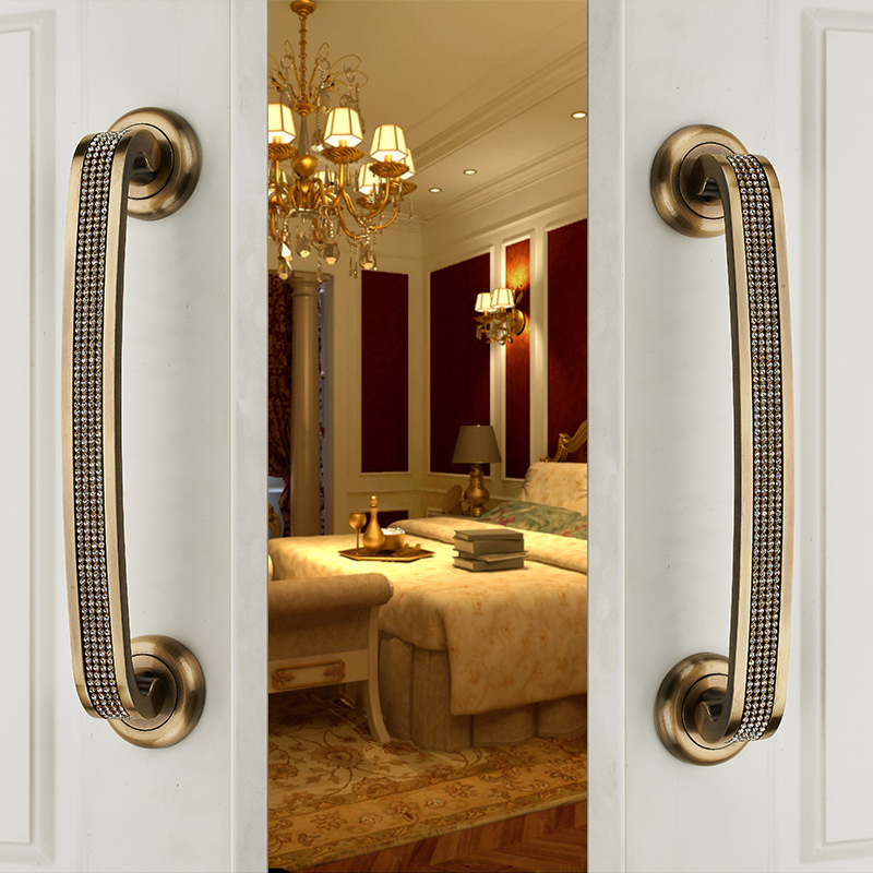 2017 Glass Doors Hardware Handle Antique European Style Door Handles Large Bronze Handle Diamond Crystal(C.C:250mm,L:300mm) antique european furniture handles cabinet handle door drawer circular copper