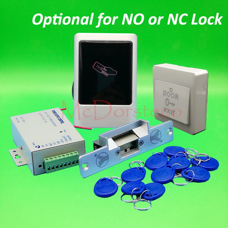 DIY 125khz Rfid waterproof No keypad Metal Door Access Control System Kit Set with yli No or Nc Electric Strike Lock System lpsecurity 125khz id em or 13 56mhz rfid metal door lock access controller with digital backlit keypad ip65 waterproof