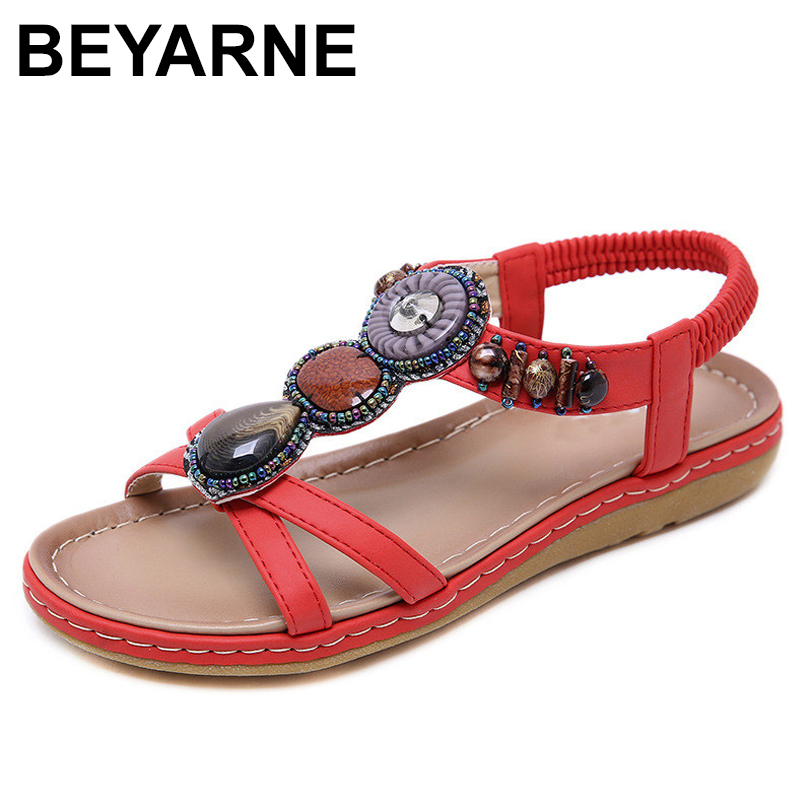 BEYARNE Summer new fashion Women Sandals diamond soft bottom casual comfortable flat sandals large size Female beach sandalsE145