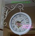 The sitting room, white rural, wrought iron double wall clock fashion ideas Ou, wrought iron double-sided clock mute