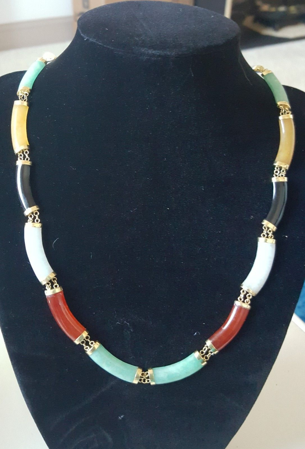 Multi colored Jadeite with 14 karat gold clasp and links necklace free shipping
