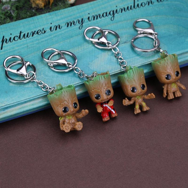 4pcs Groot Keychain Guardians Galaxy Figure Tree Man Car Decoration Toys  Model Statue Red Tree Man Baby Figurine Keychain