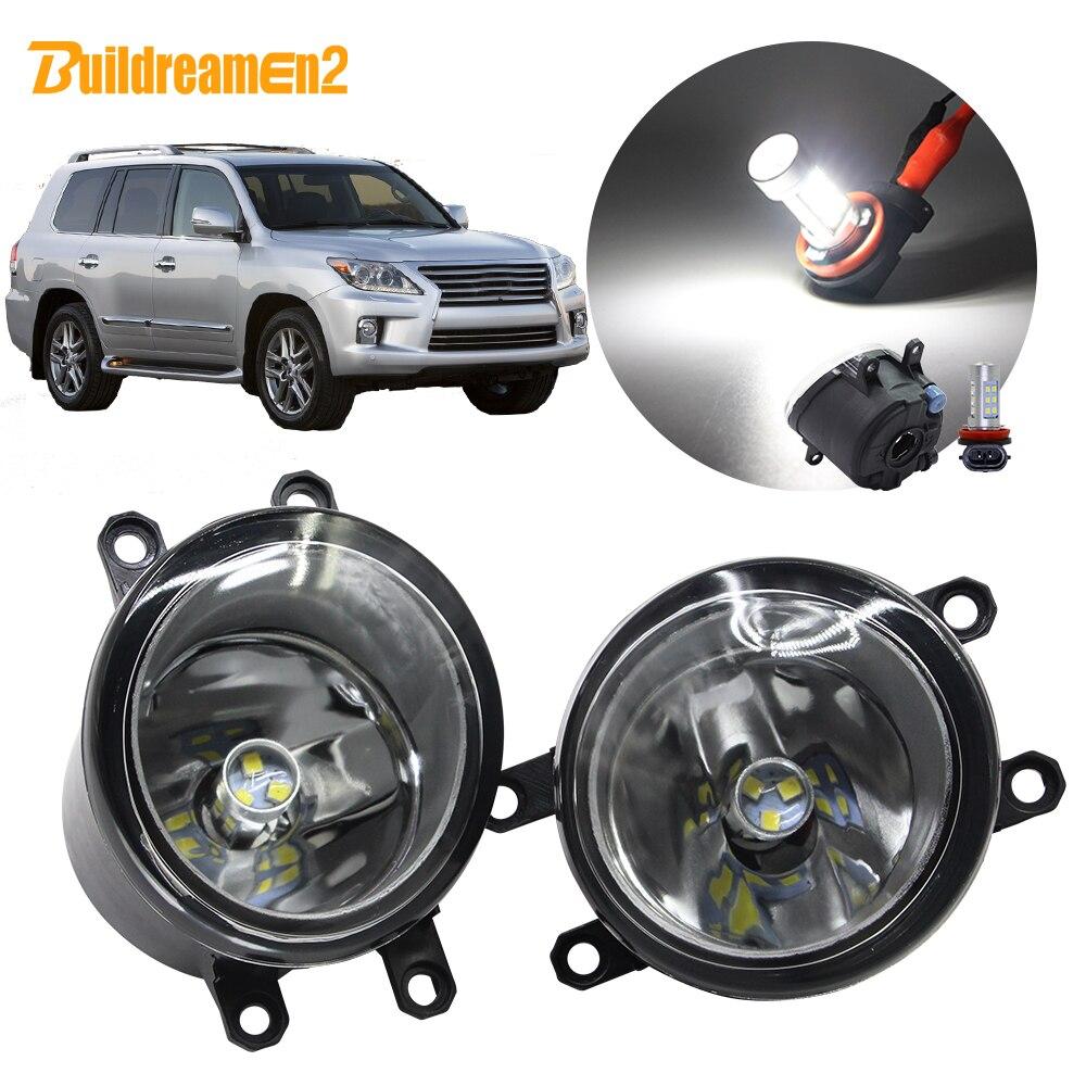 Buildreamen2 For Lexus LX 570 LX570 5.7L V8 Car H11 Fog Light Assembly Lampshade + Bulb DRL 12V 2008 2009 2010 2011 2012 2013